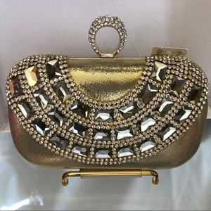Gold evening clutch bag